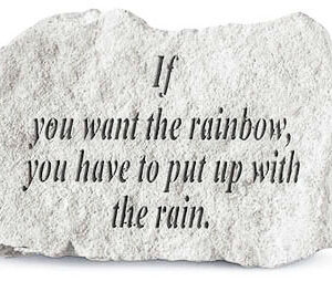 If you want the rainbow, you have to put up with the rain