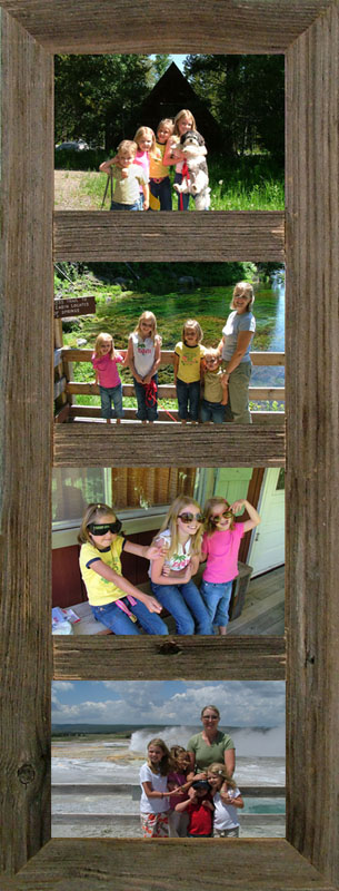 """Vertical Barnwood Panel Frame for (4) 5""""x 7"""" pictures."""