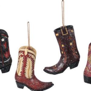 Cowboy Boot Resin Ornaments (4 per set)