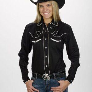 Women's Retro Western Shirt - Black Front