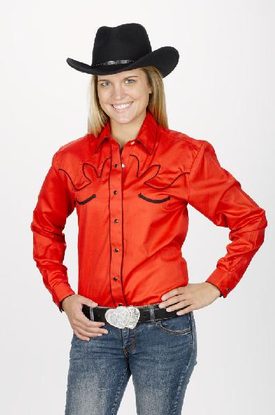 Women's Retro Western Shirt - Red Front