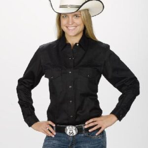 Women's Western Shirt - Black Front