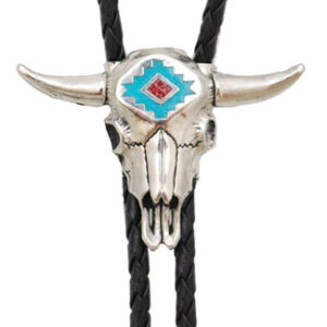 Steerhead Bolo Tie with Turquoise and Coral Inlay